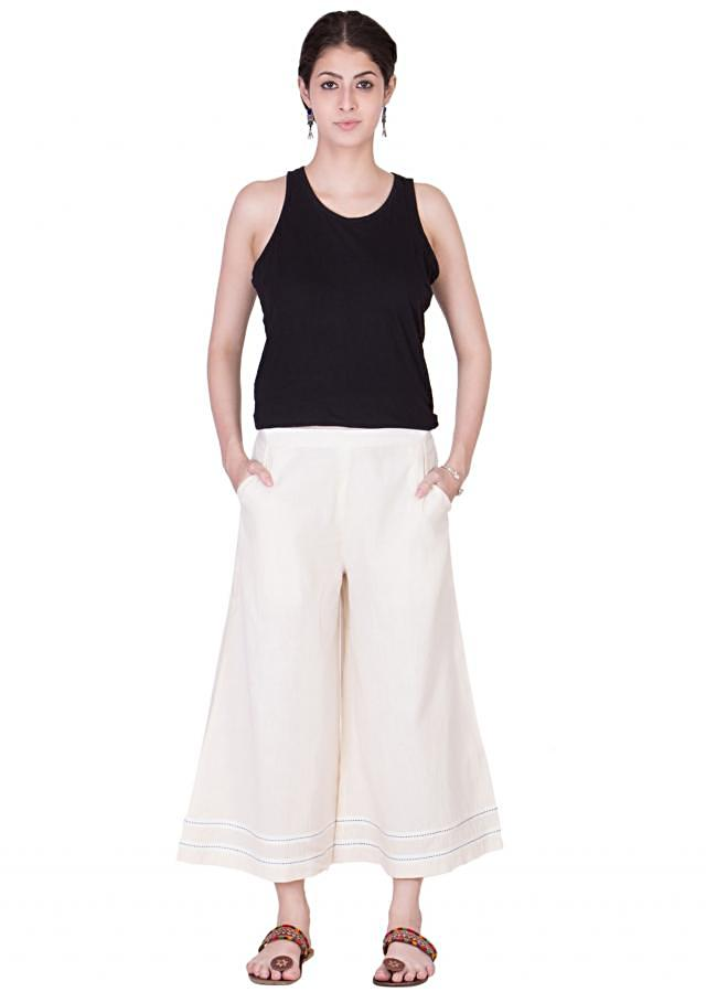 off white soft muslin with side pockets and flare