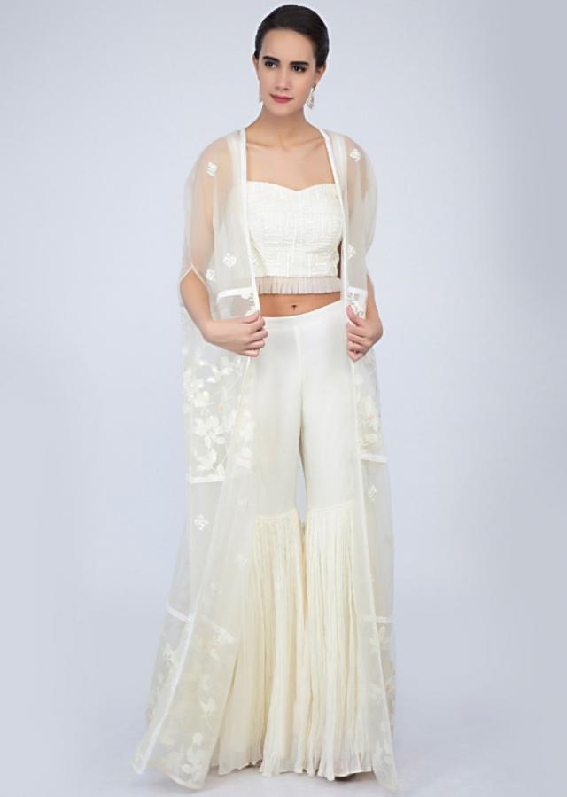 P. V. Sindhu In Kalki Off White Strap Crop Top With Matching Sharara And Embroidered Net Jacket