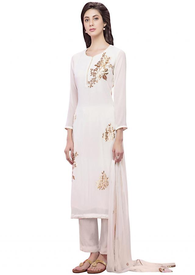 Off white straight suit in gold applique embroidery
