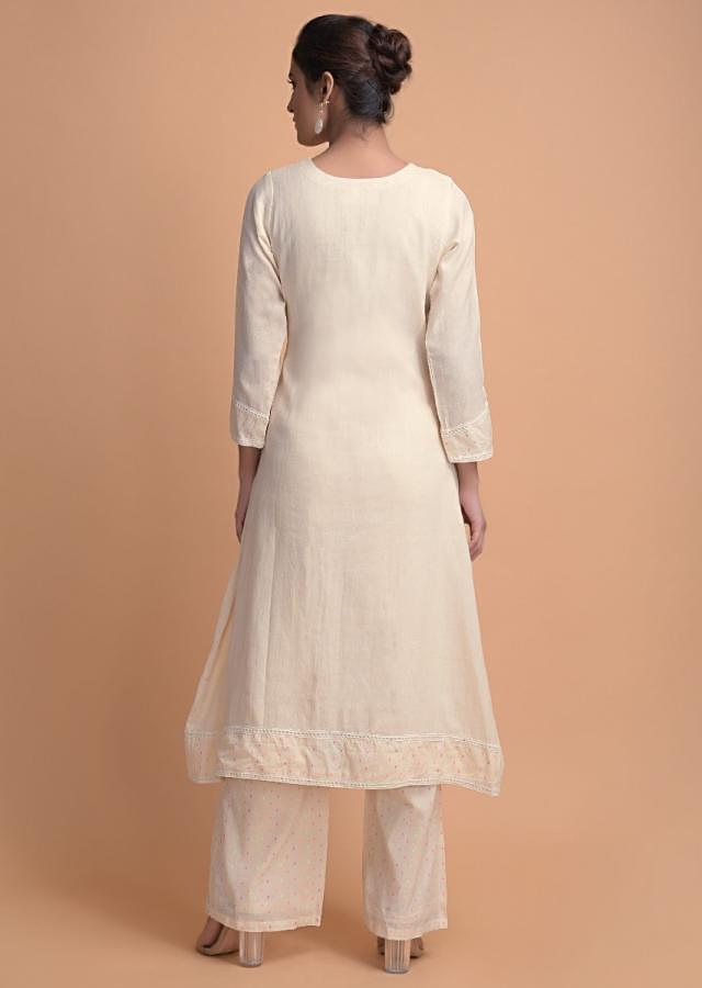 Off White Suit In Jute Cotton With Colorful Weaved Buttis On The Placket Online - Kalki Fashion