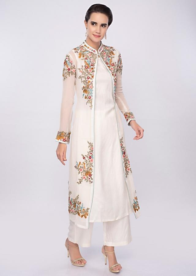 Off white three piece suit in floral resham embroidery only on Kalki
