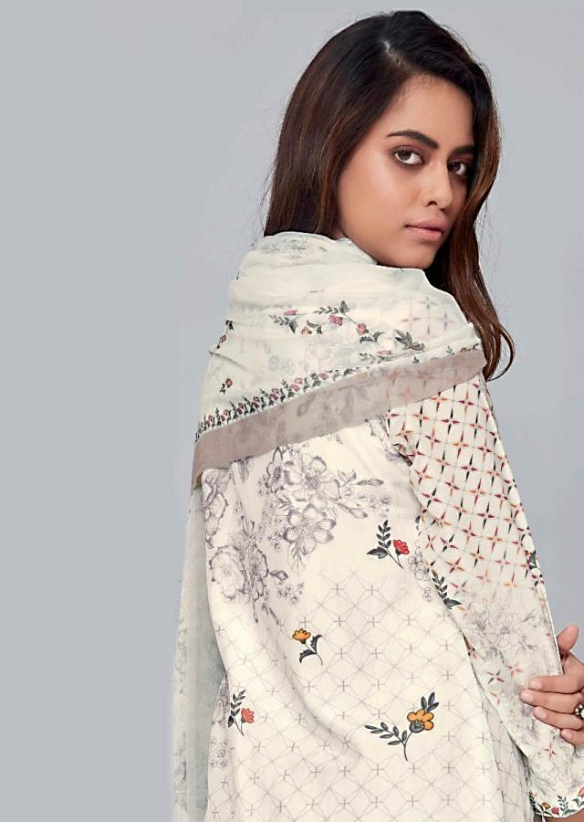 Off White Unstitched Cotton Suit With Floral Printed Dupatta Online - Kalki Fashion
