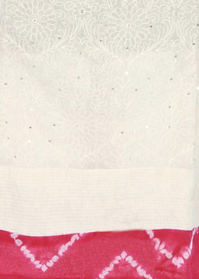 Off white unstitched suit embellished in thread work only on Kalki