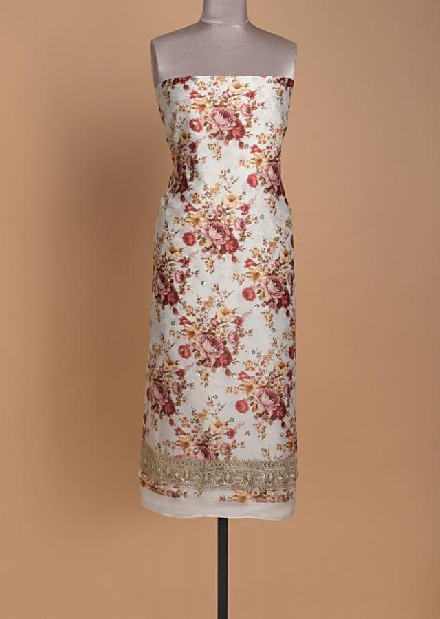 Off White Unstitched Suit With Floral Print And Embellished Buttis Online - Kalki Fashion