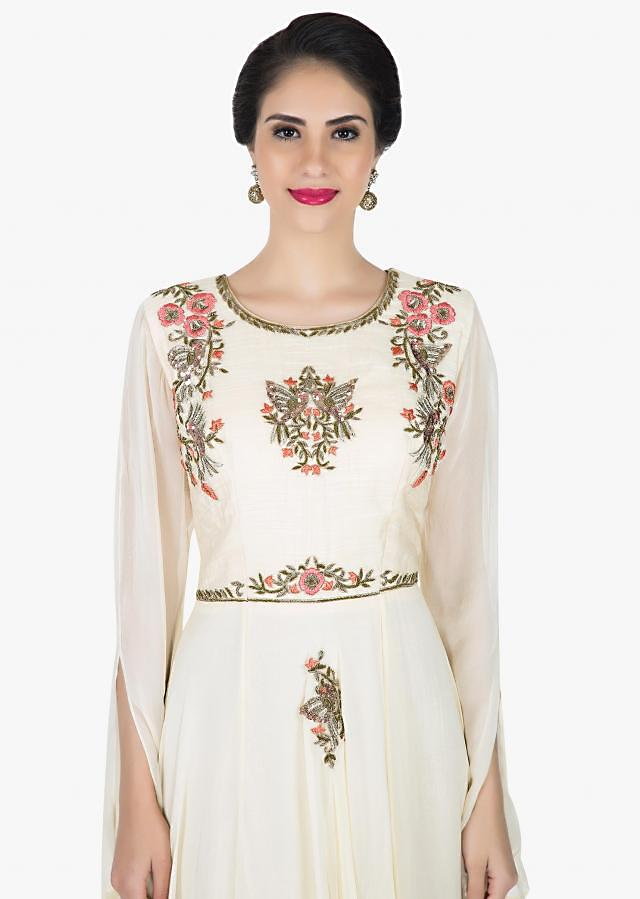 Off-white georgette dress beautified in zardosi and resham work only on Kalki