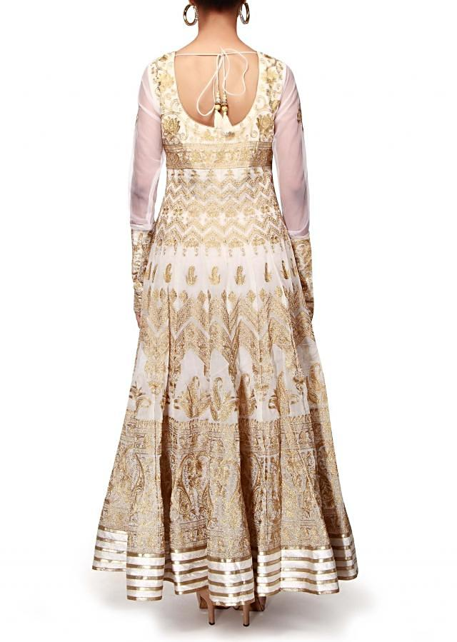 Off white anarkali suit adorn in zari embroidery only on Kalki