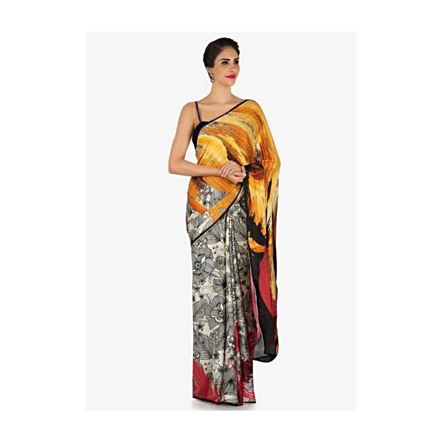 Off white and saree with shaded pallav in floral print only on Kalki