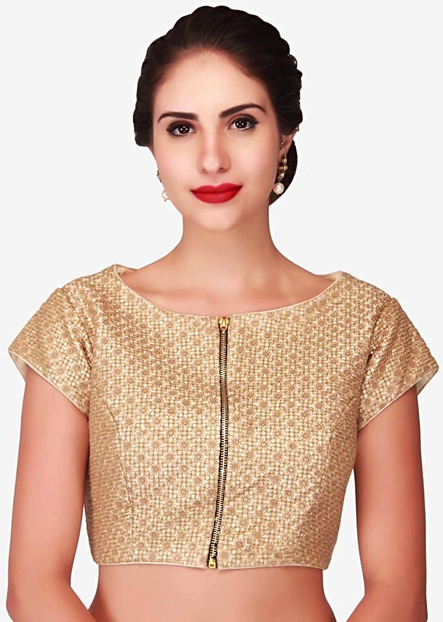 Off white blouse embellished in thread and sequin with front opening in zip only on Kalki