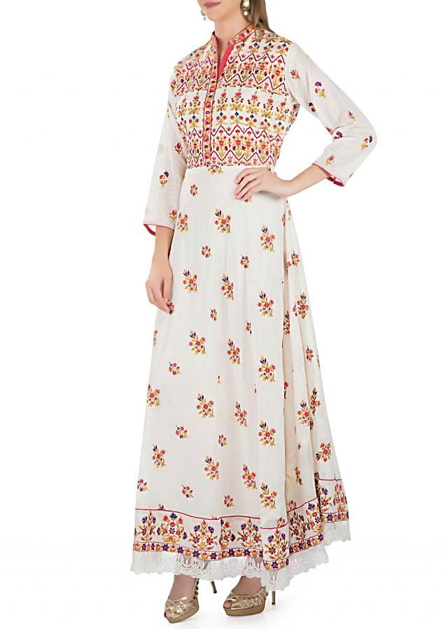 Off White Cotton Silk Top Adorned with Resham Work, Chiffon Dupatta and Unstitched Bottom only on Kalki