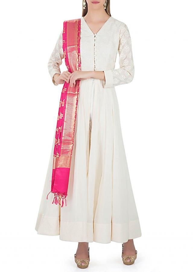 Off White Cotton Top with Thread Work and Rani Pink Dupatta only on Kalki