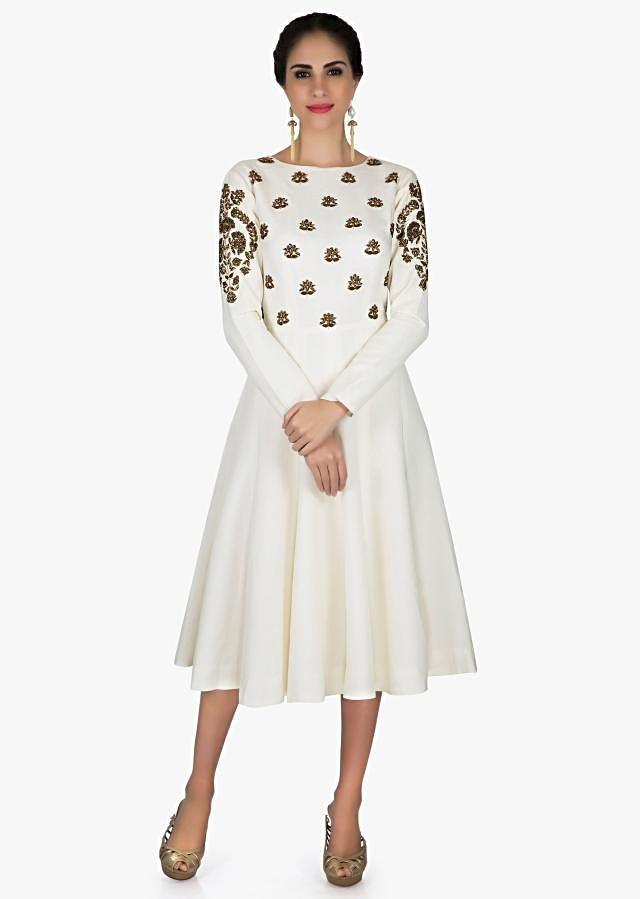 Off white dress in cotton silk with zardosi embroidered bodice and sleeve only on Kalki