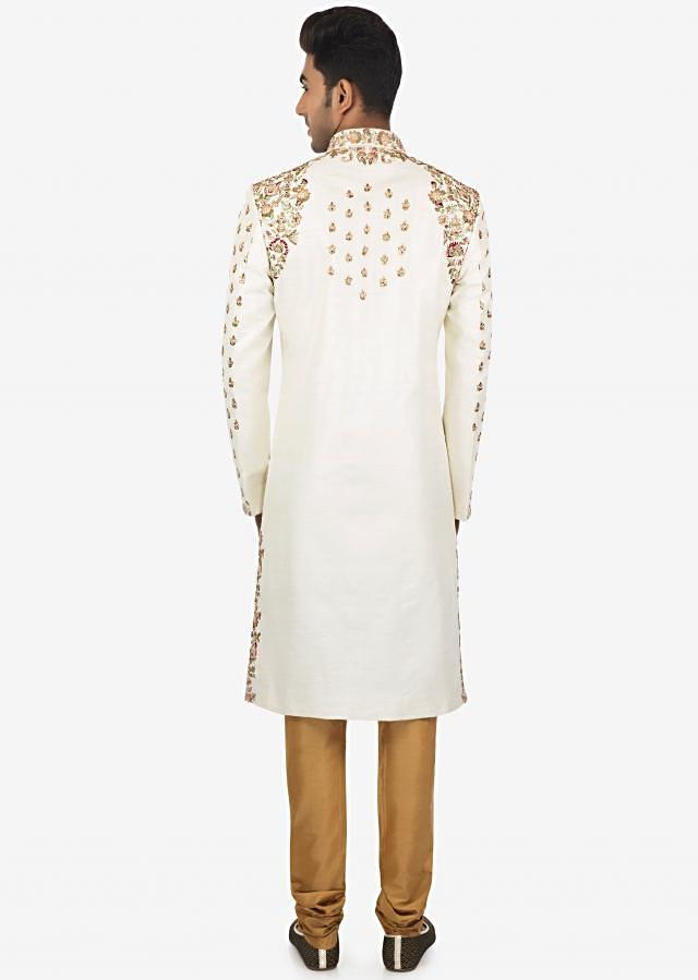 Off White Embroidered Sherwani and Sandal Brown Churidar Set Only on Kalki