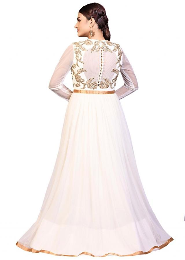 Off white gown n net with aari embroidered bodice