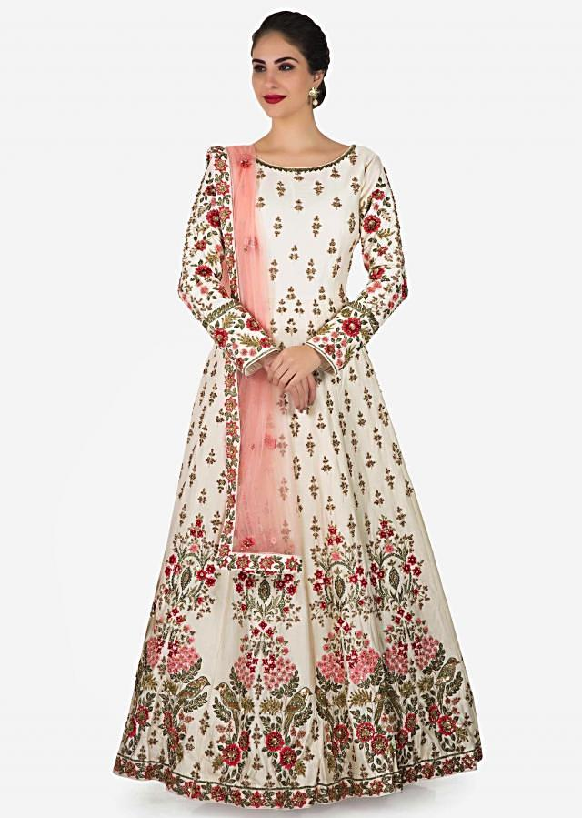 Off white taffeta gown featuring the zardosi and resham embroidery work only on Kalki