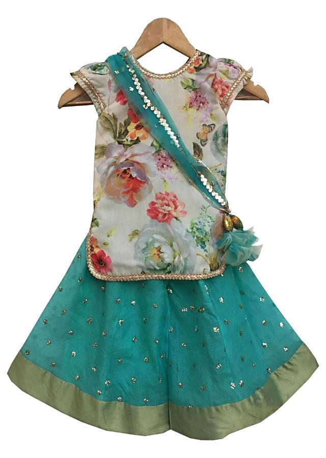 Offwhite Printed Kurti with Aqua Sharara by Fayon Kids