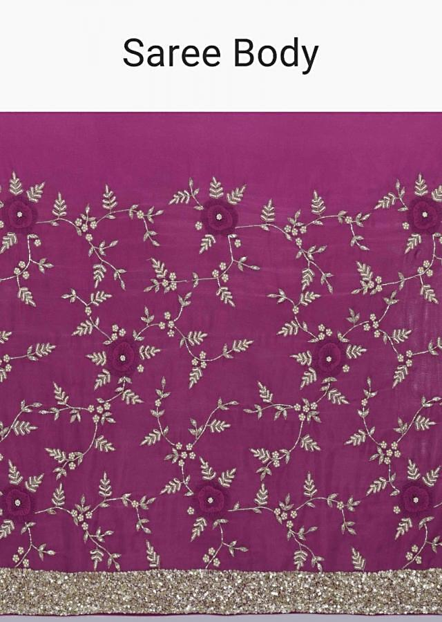 Old Mauve Saree In Chiffon With Ombre Effect And Matching Blouse Piece Online - Kalki Fashion