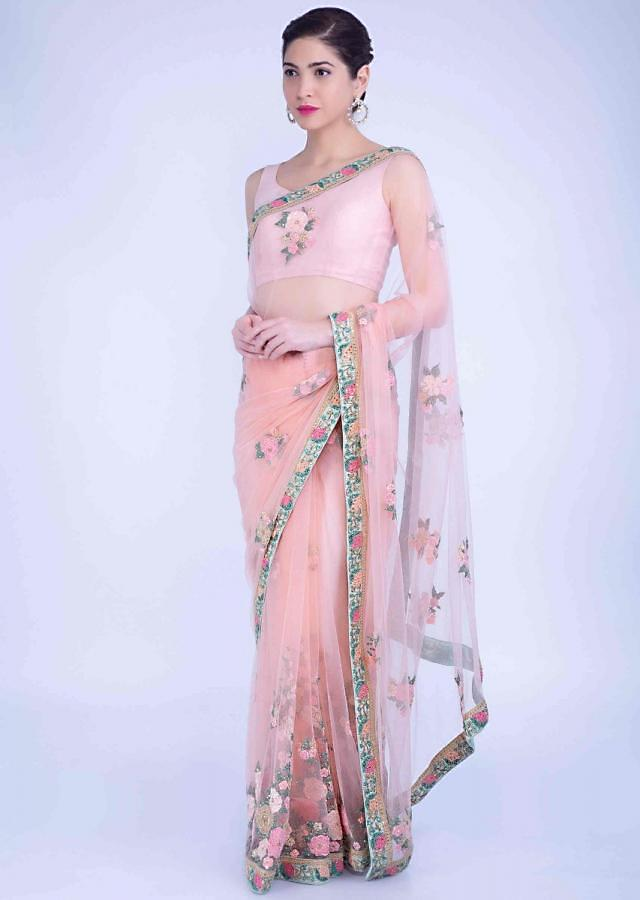 Oleander Peach Embroidered Saree With Mint Green Raw Silk Border Online - Kalki Fashion
