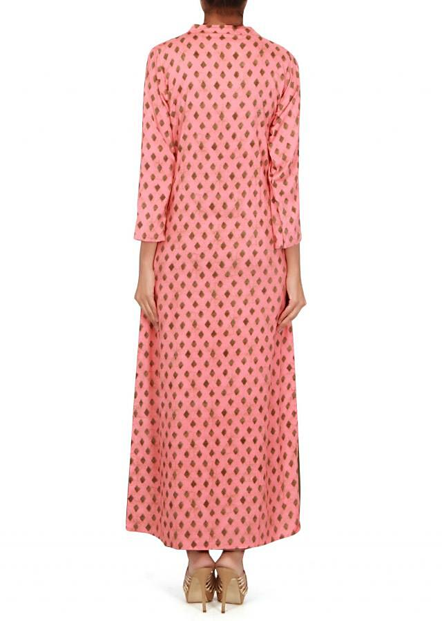 Olive A line kurti with pink embroidered jacket only on Kalki