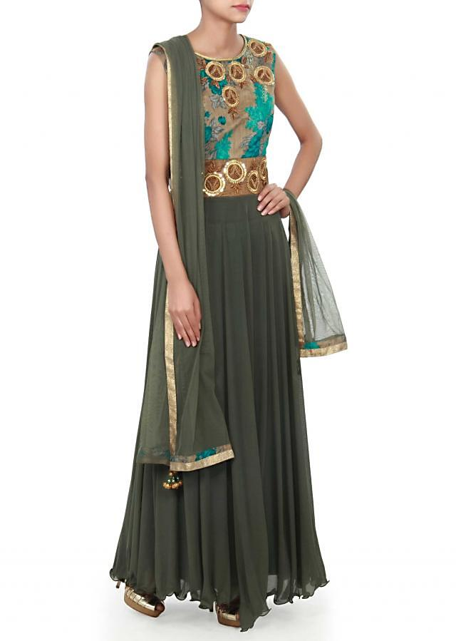 Olive green anarkali suit adorn in print and sequin embroidery only on Kalki