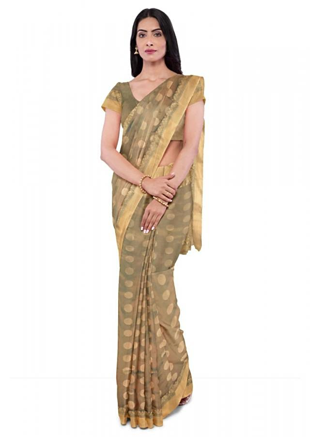 Olive Green And Teal Blue Banarasi In Two Toned Silk With Matching Blouse Peice Online - Kalki Fashion