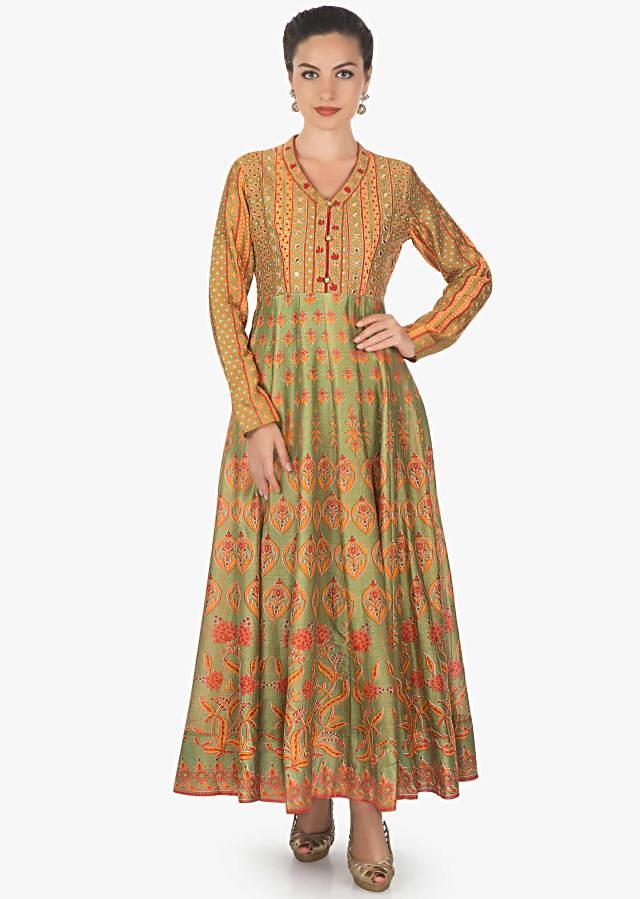 Olive green cotton anarkali featuring with zari and mirror work only on kalki