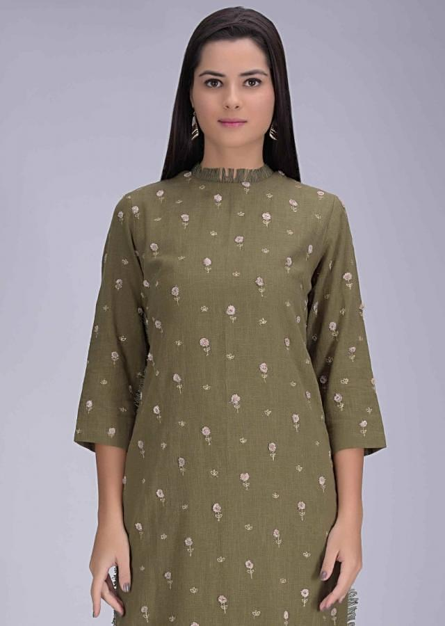 Olive Green Suit In Cotton With Matching Straight Cut Pants Online - Kalki Fashion