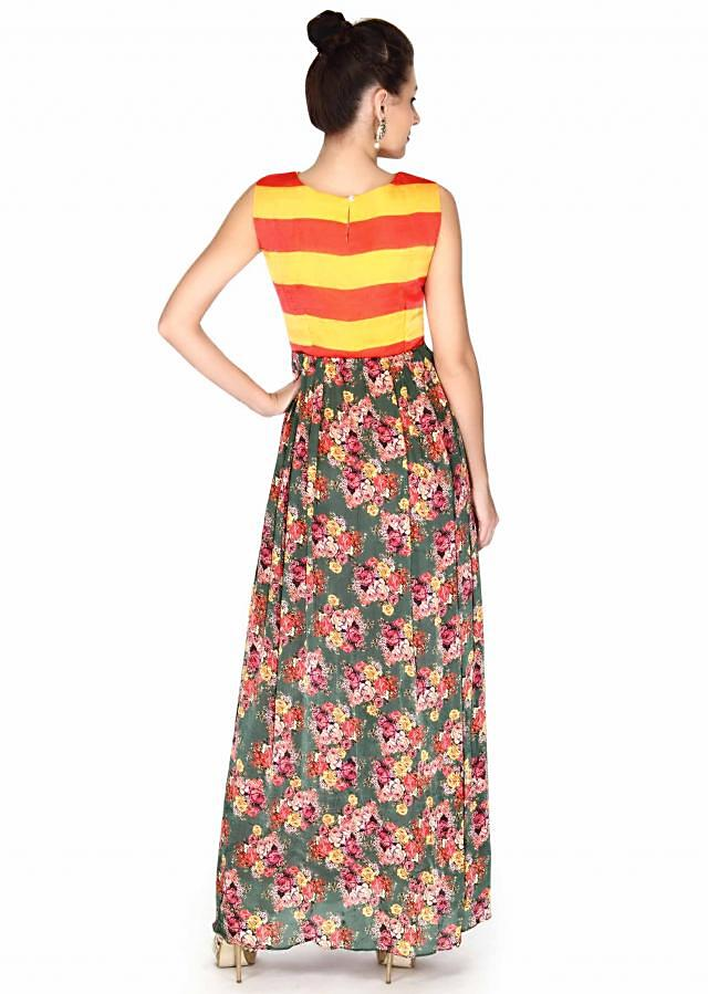 Olive green dress in floral print and contrast bodice only on Kalki