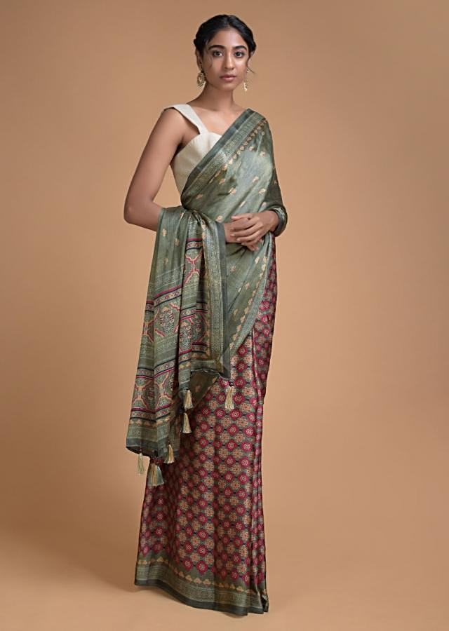 Olive Green Half And Half Saree In Satin Blend With Printed Floral Buttis And Jaal Pattern Online - Kalki Fashion