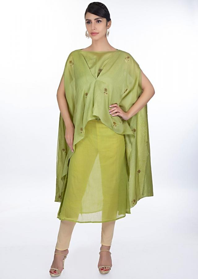 Olive Green Kurti Paired With A Fancy Kaftan Stitched From The Center Online - Kalki Fashion