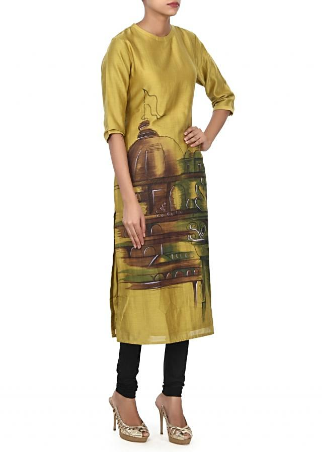Olive green kurti features with printed hem only on Kalki