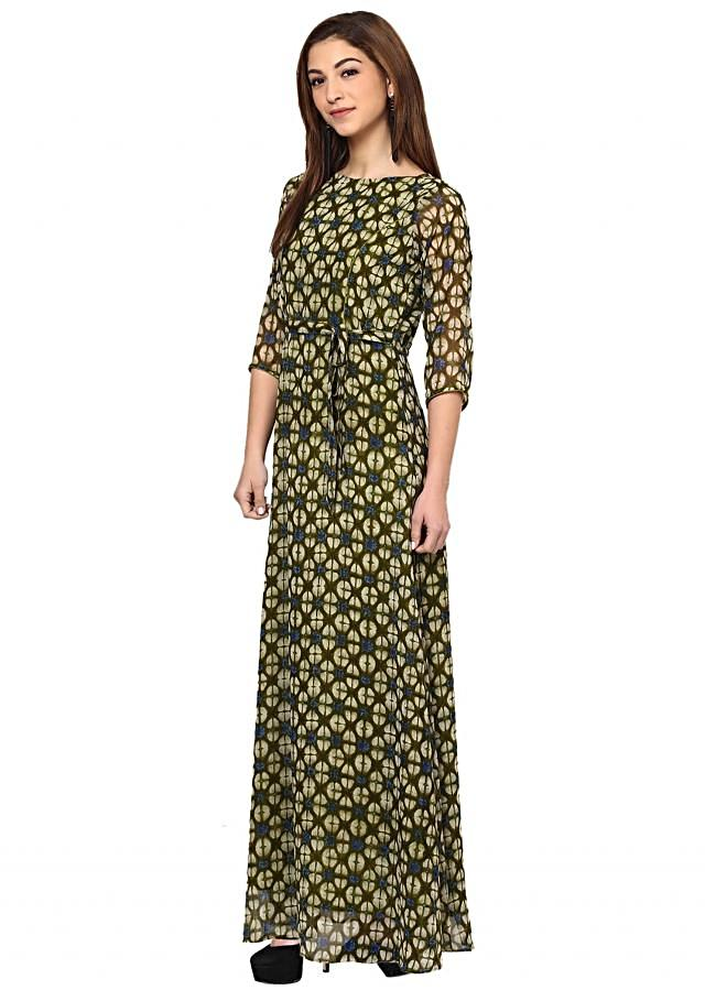 Olive Green Printed Maxi Dress