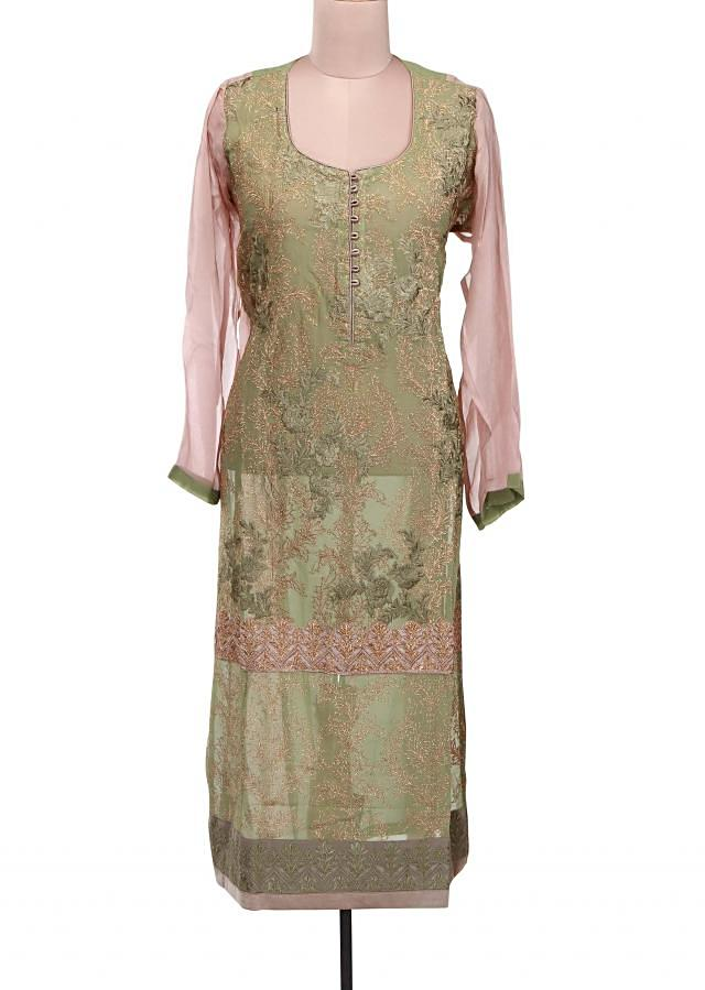 Olive green semi stitched suit featuring in resham and zari embroidery only on Kalki