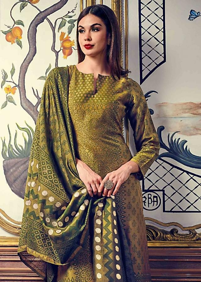 Olive Green Straight Suit Featuring In Silk With Polka Dots, Jaal And Butti Print All Over Online - Kalki Fashion