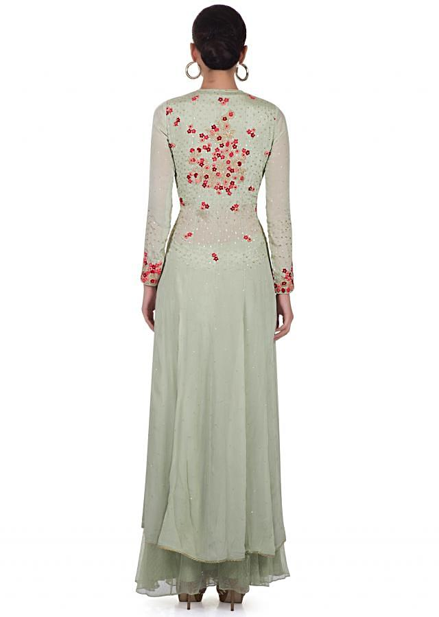 Olive Grey Cotton Silk Top Studded with Resham Embroidery, Net Palazzos and Dupatta only on Kalki