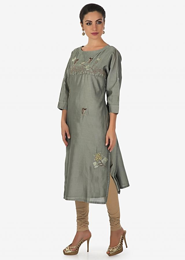 Olive grey kurti embellished in bird and floral embroidery in resham only on Kalki