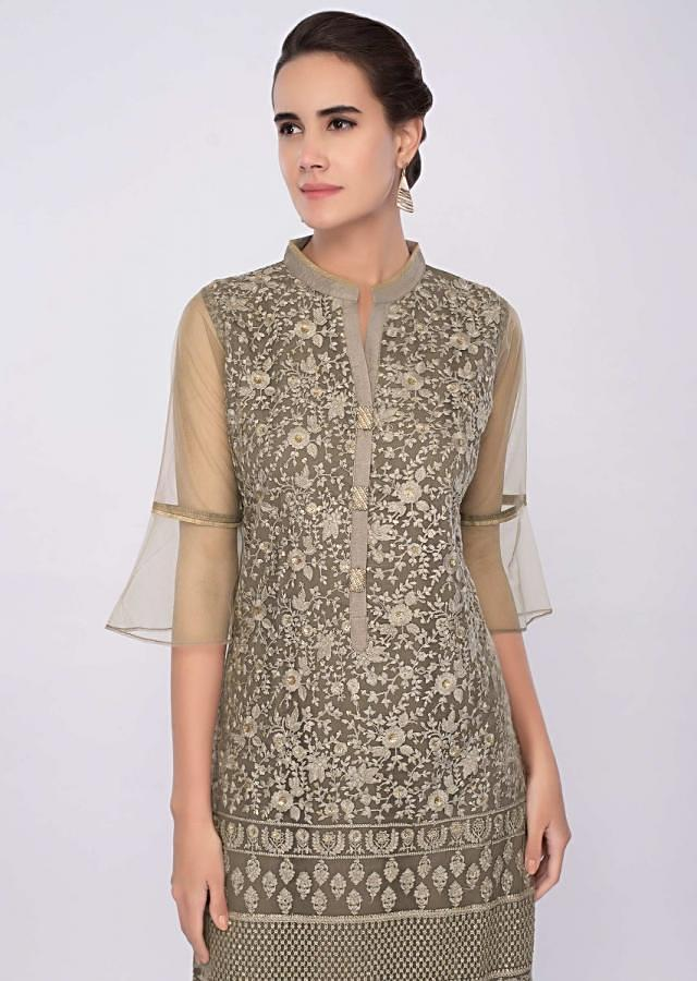 Olive grey net kurti in thread jaal embroidery only on Kalki