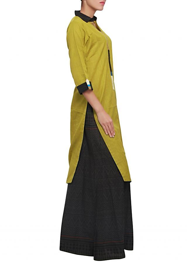 Olive straight fit suit enhanced in multi color placket only on Kalki