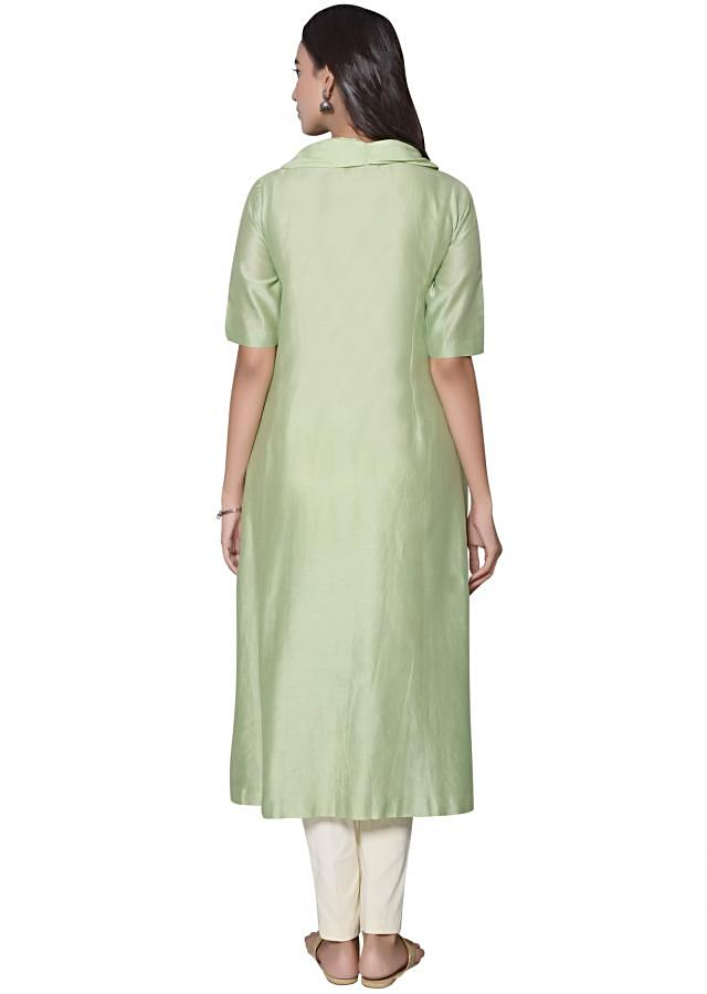 Olive green A line kurti in fancy neckline and french knot embroidery