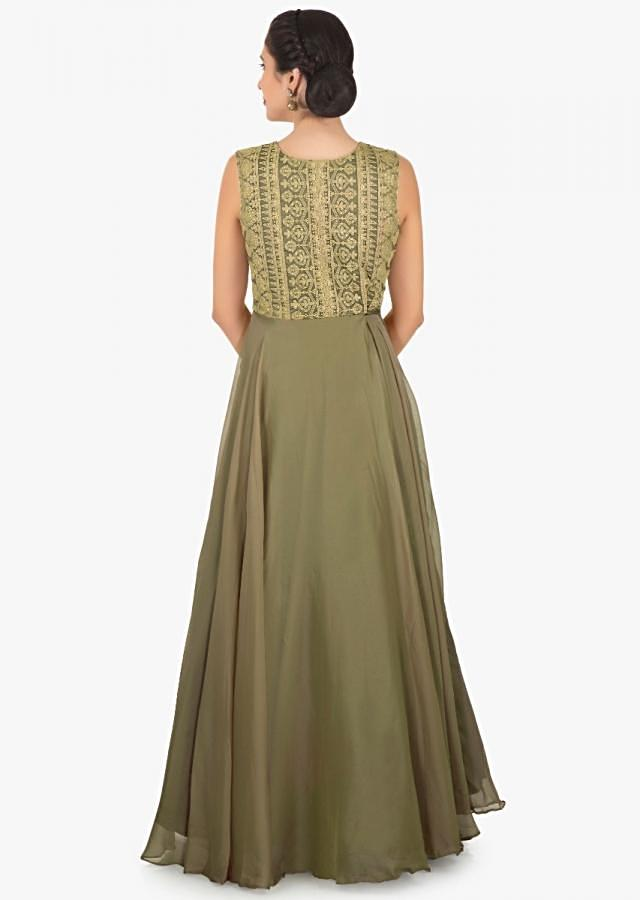 Olive green anarkali suit in chiffon with bodice in thread work only on Kalki