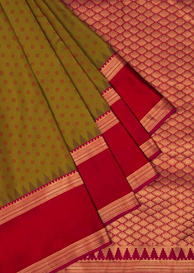 Olive green and red saree in silk only on Kalki