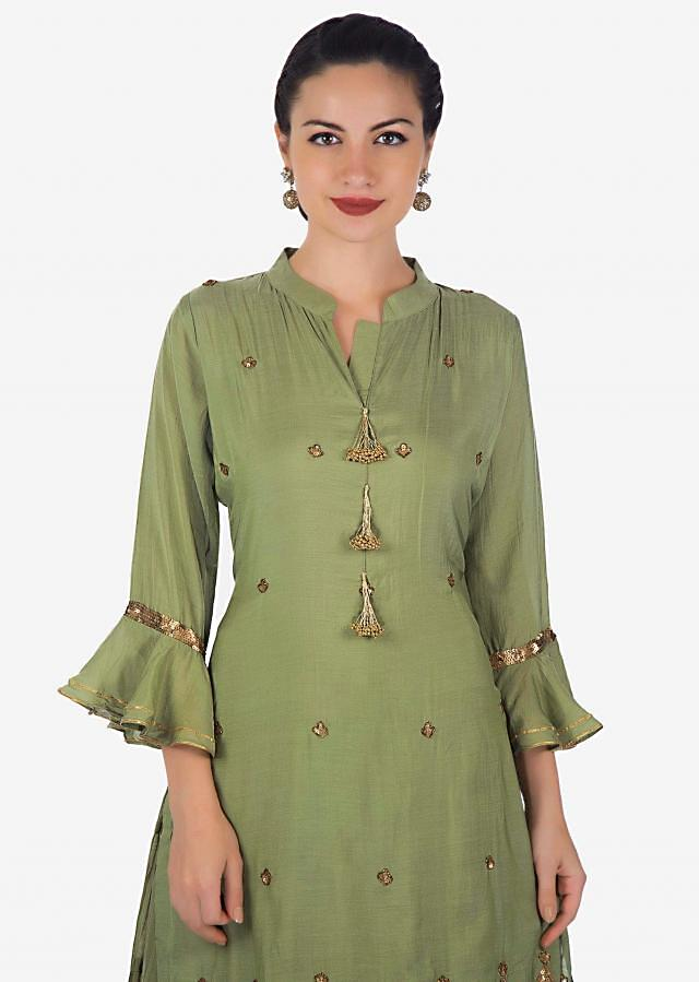 Olive green double layer dress in cotton embellished in fancy tassel and sequin embroidery only on Kalki