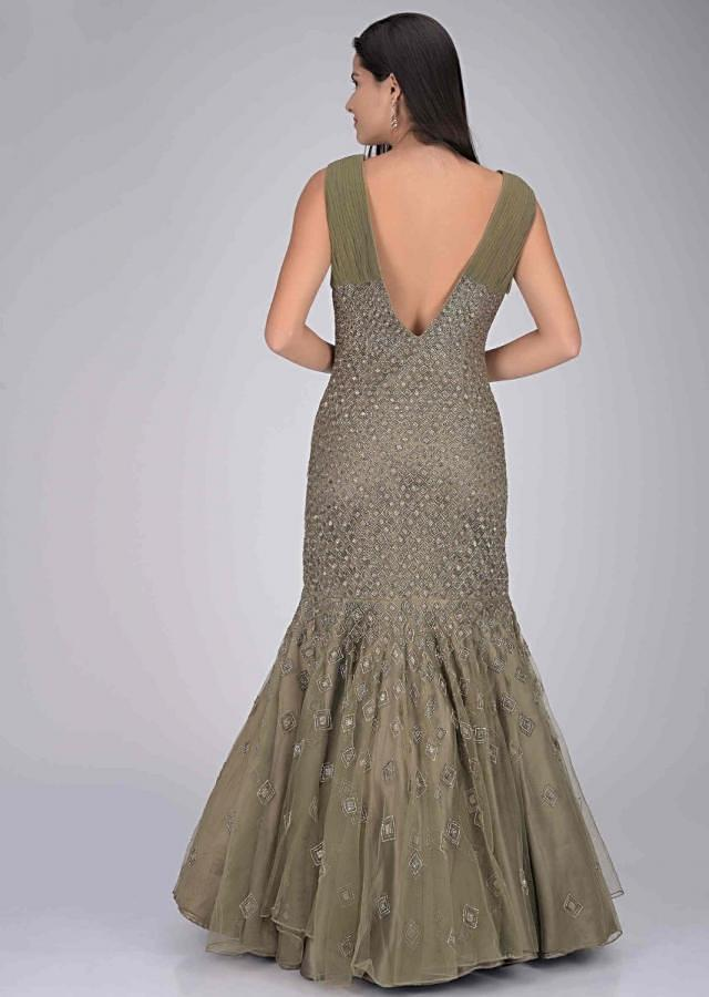 Olive green embellished net gown in mermaid cut only on Kalki