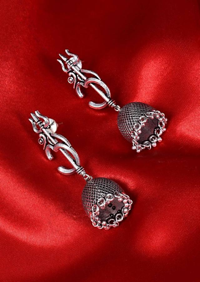 Om and trishul motif silver temple jhumkas only on Kalki