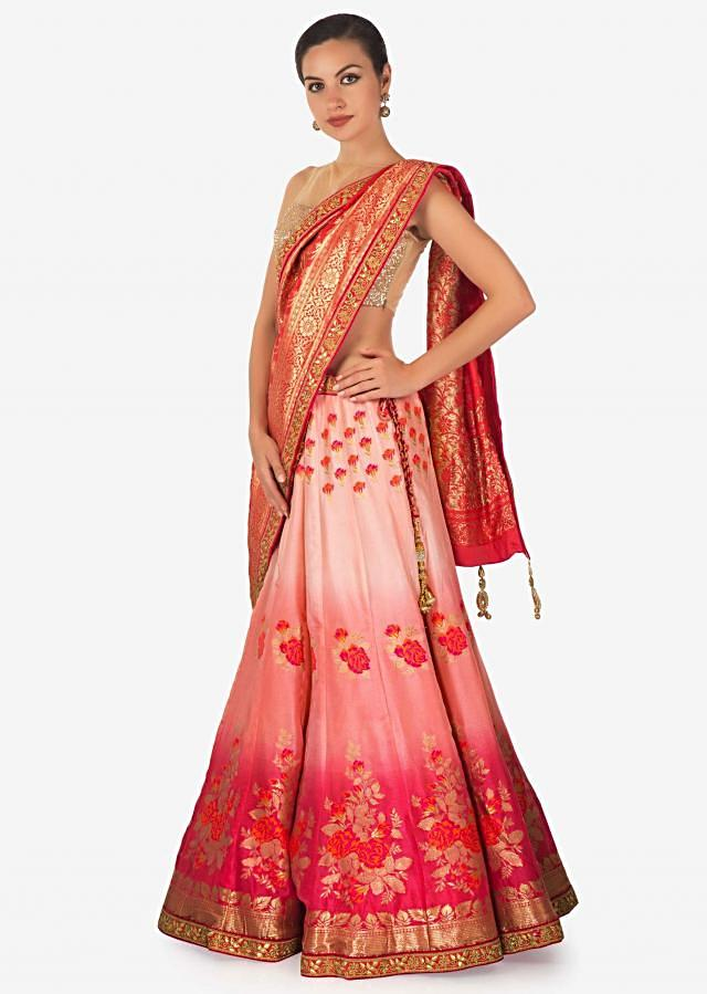 Omber pink shaded lehenga in silk enhanced in weave embroidery only on Kalki