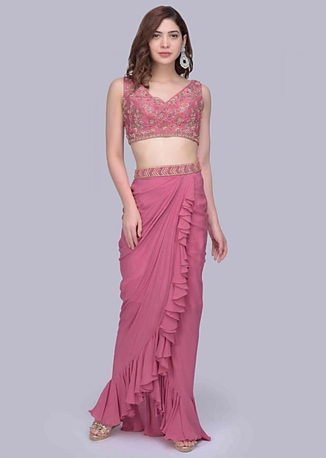 Onion Pink Fancy Frilled Skirt With Floral Embellished Crop Top And Matching Net Jacket Online - Kalki Fashion
