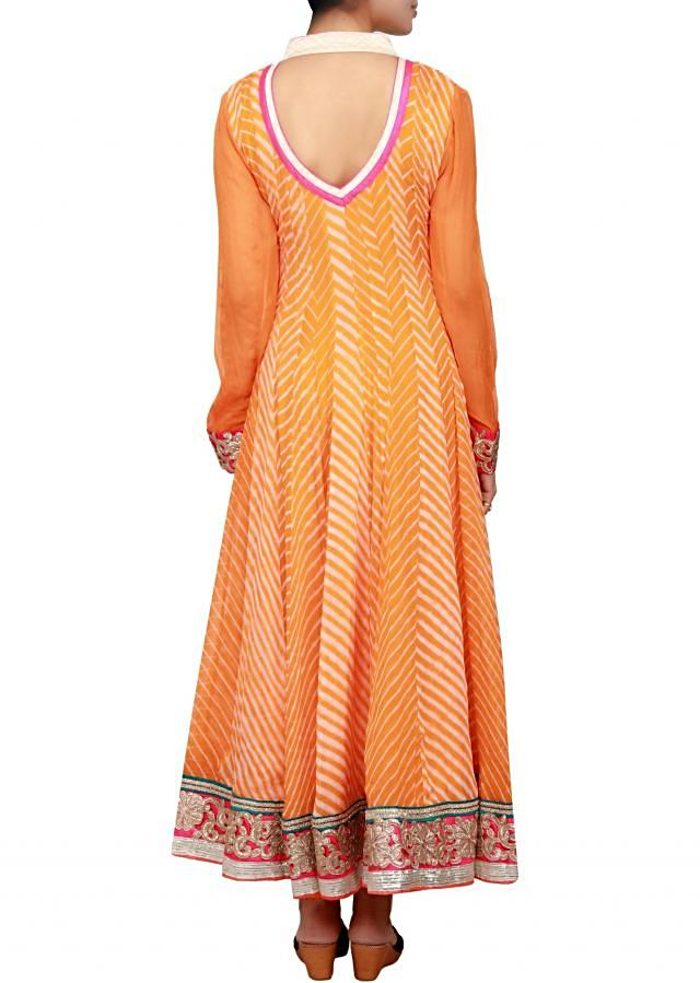 Orange anarkali in georgette leheriya print embellished in zari cut work and patch work embroidery only on Kalki