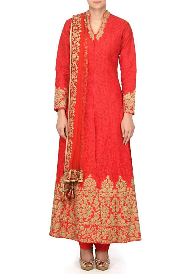 Orange anarkali suit embellished in zari and thread embroidery only on Kalki