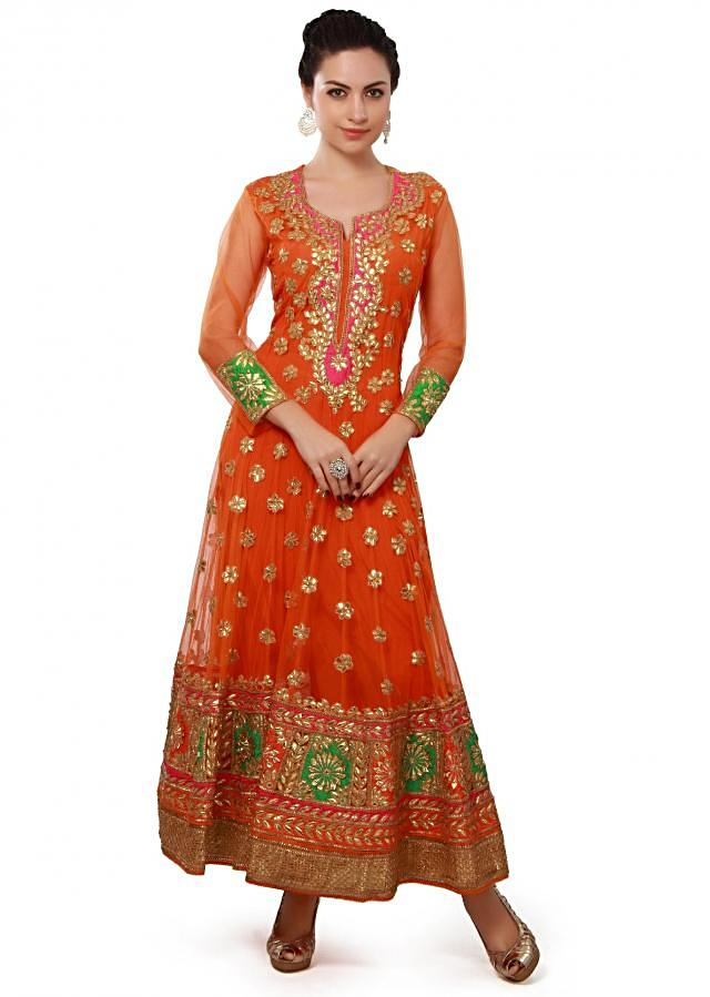 Orange anarkali suit enhanced in gotta patch embroidery only on Kalki