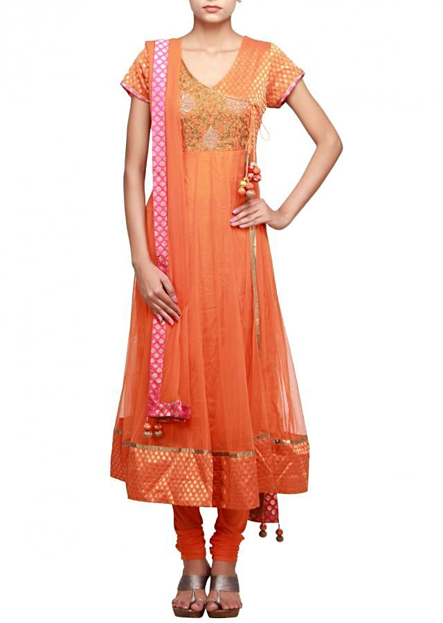 Orange anarkali suit featuring in banarasi yoke embellished in zari only on Kalki