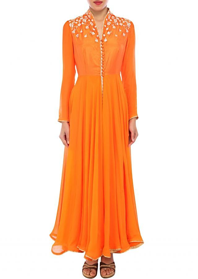 Orange anarkali suit featuring with pita zardosi embroidery only on Kalki